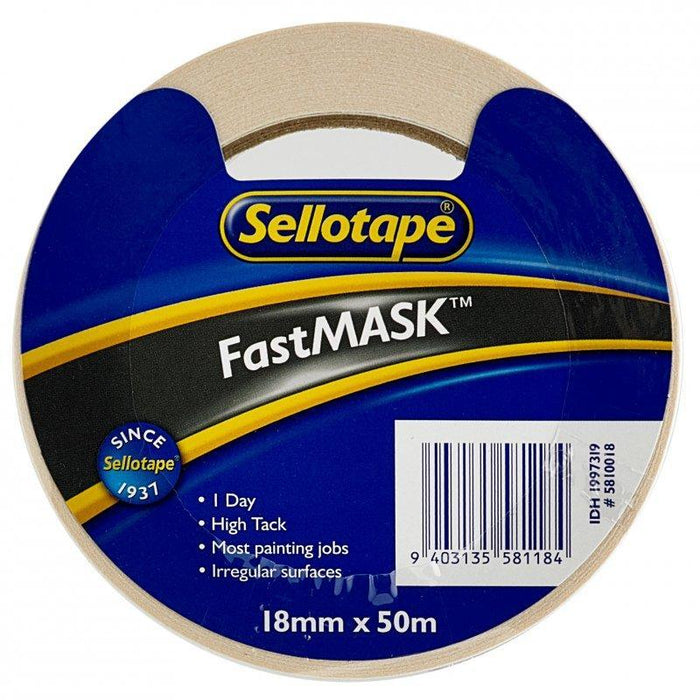 Acme Sellotape FastMASK Masking Tape 18mm x 50mt