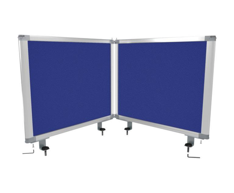 Boyd Visuals Desk Mounted Partitions 450mm High x 560mm Wide - Blue