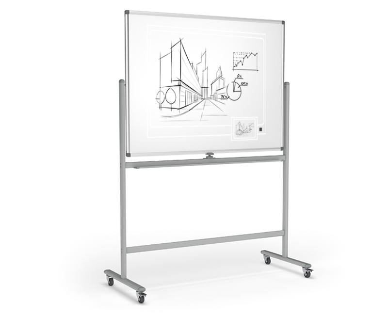 Boyd Visuals Mobile Porcelain Double Sided Whiteboard 1200 x 1200mm On Stand