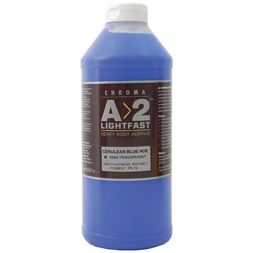Croxley A2 Lightfast Heavy Body Acrylic Paint 1 Litre - Cerulean Blue