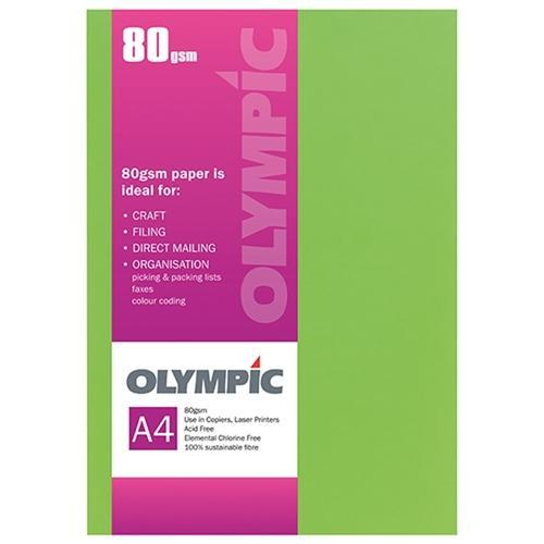 Croxley A4 80gsm Olympic Paper Fluoro Green x 30