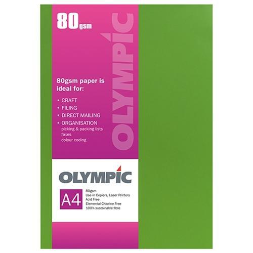 Croxley A4 80gsm Olympic Paper Intensive Green x 30