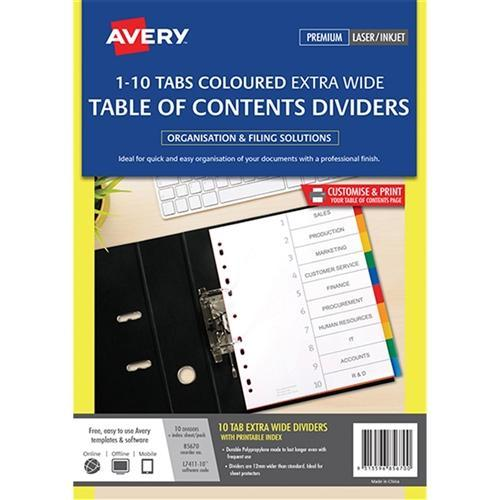 Croxley Avery A4 Extra Wide Coloured Indices 10 Tabs
