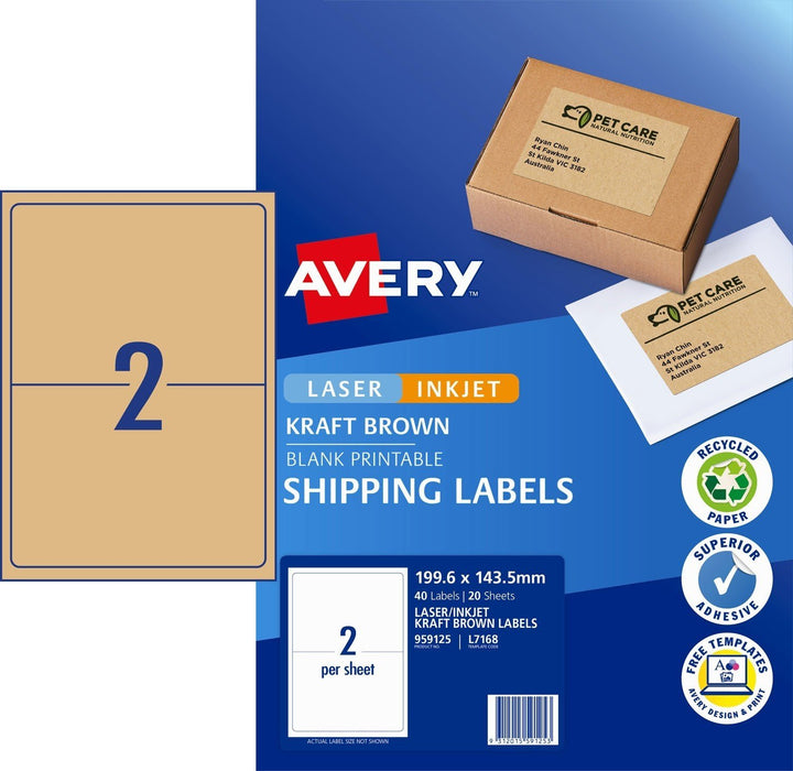 Croxley Avery L7168 Kraft Brown Labels 2's x 20 Sheets