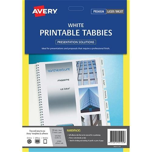 graphic relating to Printable Self Adhesive Tabs called Avery Printable Self Adhesive Tabs - White 48s