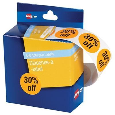 Croxley Avery Printed Labels '30% OFF' 24mm Round