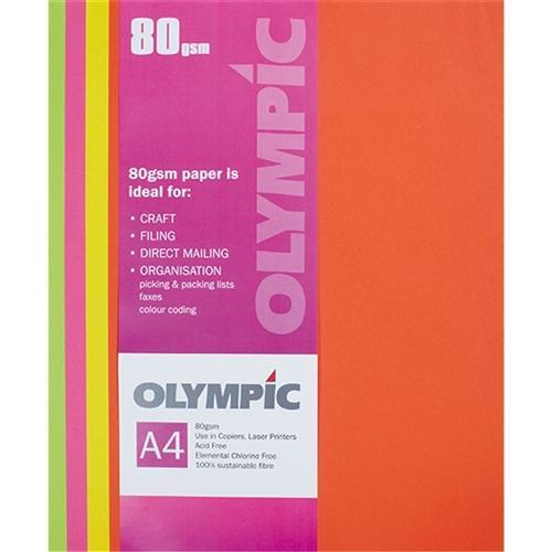Croxley Copy of A4 80gsm Olympic Paper Assorted Fluoro Colours x 30