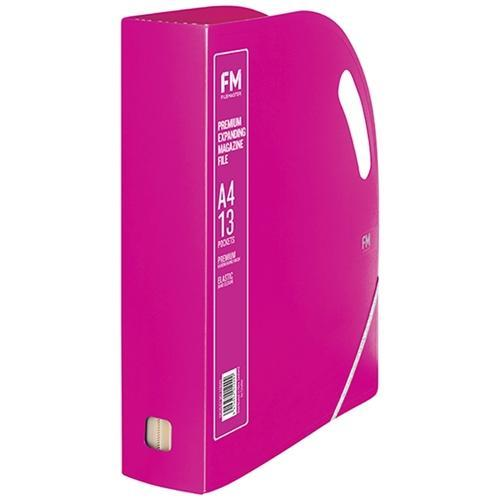 Croxley FM Premium Expanding Magazine Holder  / File - 13 Pockets Shocking Pink