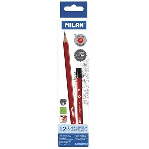 Croxley HB Pencil Milan Graphite Triangular x 12 + Eraser