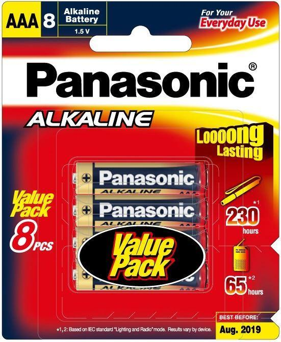 Dove Panasonic AAA Alkaline Batteries 8 Pack