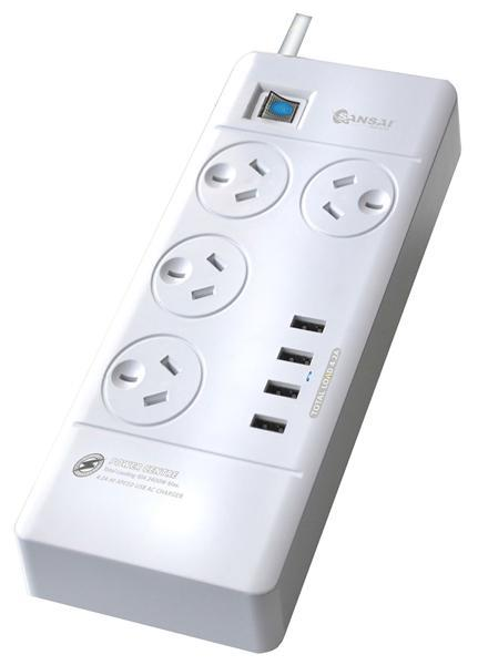Dove Sansai 4 Way Power Board with Surge Protector & USB Ports