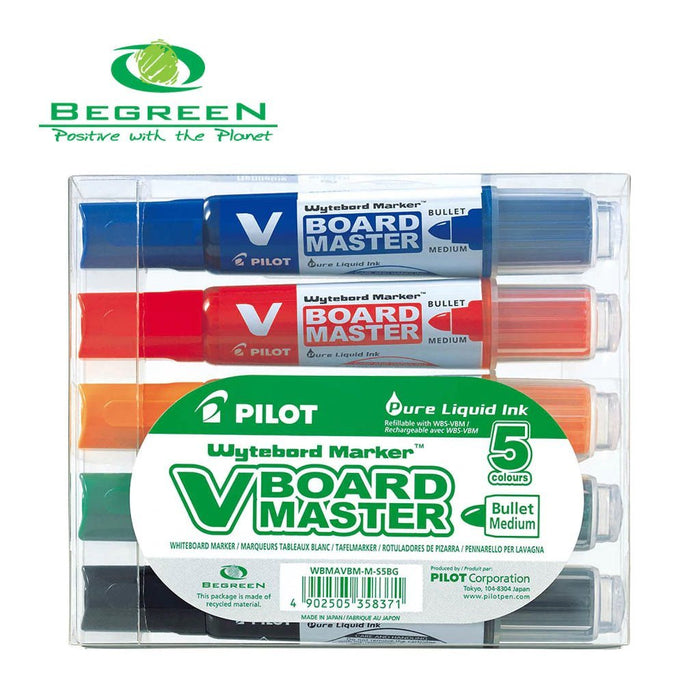 Fresh Office Pilot BeGreen V Board Whiteboard Marker Bullet - 5's Pack