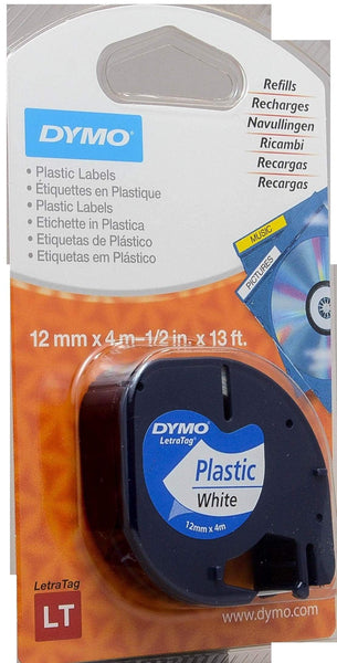 Dymo Letra Tag Tape 12mm x 4mt - Black on White (91201)