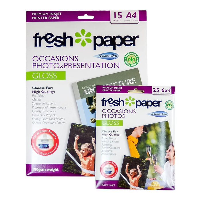 "Fresh Print Gloss Photo Paper 180gsm A4 + 6"" x 4"" Combo Pack"