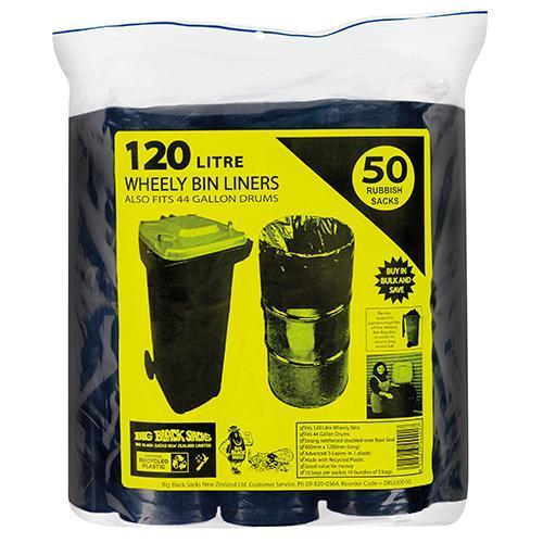 Gilmours Big Black Sacks Drum / Wheely Bin Liners 44 Gallon 50's
