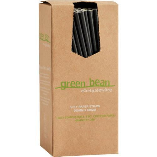 Gilmours Black Paper Straw 205mm x 6mm x 250's Pack
