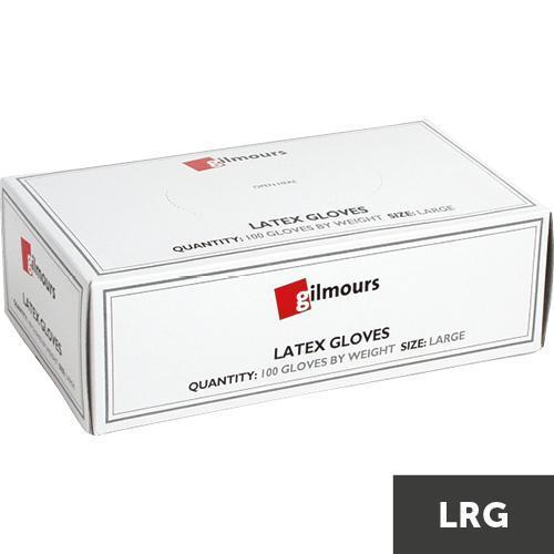 Gilmours Latex Disposable Powdered Gloves Large x 100