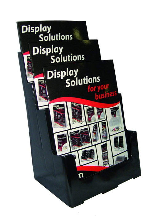 Larstons A4 Brochure Holder Three Tier - Black