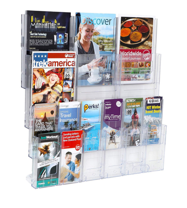 Larstons A4 + DL Wall Mount Brochure Holder 6 x A4 + 12 x DL