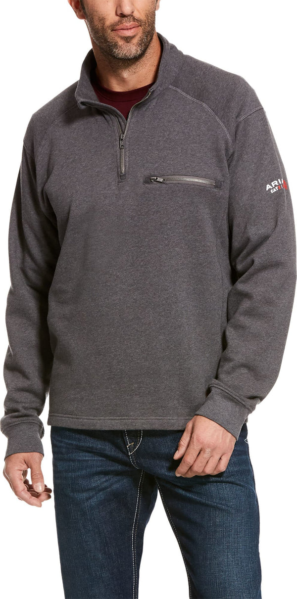 MENS FR REV 1/4 ZIP TOP CHARCOAL HEATHER