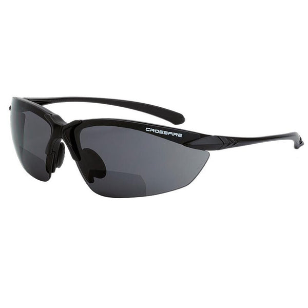 Crossfire Sniper Black Frame Smoke Polarized Lens Safety Glasses