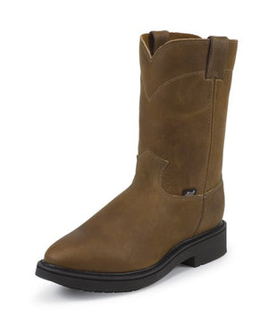 Justin Conductor Pull on Brown Work Boot