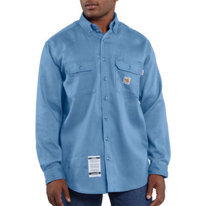 Men's Carhartt Flame-Resistant Work-Dry® Lightweight Twill Shirt - Medium Blue