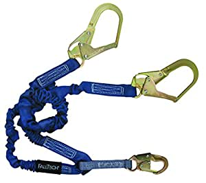 8240Y3 4½' to 6' ElasTech® Energy Absorbing Lanyard, Double-leg with Steel Connectors