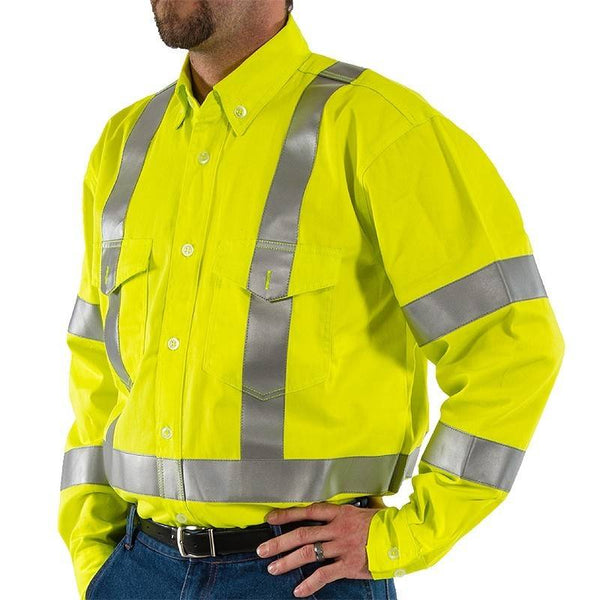 Majestic 95811Y, BlazeTEX Flame Retardant Hi-Viz Vented Action Back Shirt