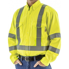 Majestic 95810Y BlazeTEX FR High Visibility Button Down Work Shirt
