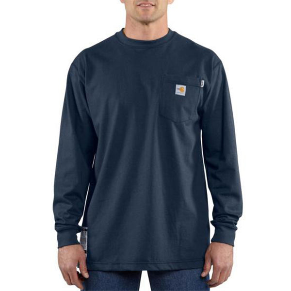 Men's Carhartt Flame-Resistant Force™ Long Sleeve Cotton T-Shirt - Navy