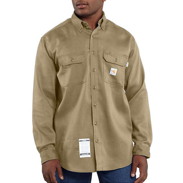 Men's Carhartt Flame-Resistant Work-Dry® Lightweight Twill Shirt - Khaki