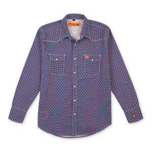 WRANGLER® 20X® FIRE RESISTANT LONG SLEEVE WESTERN SNAP PRINT SHIRT IN DARK BLUE