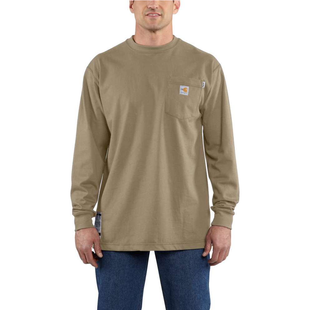 1aac7ef5baad Men s Carhartt FR Force™ Long Sleeve Cotton T-Shirt - Khaki
