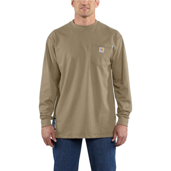 Men's Carhartt FR Force™ Long Sleeve Cotton T-Shirt - Khaki