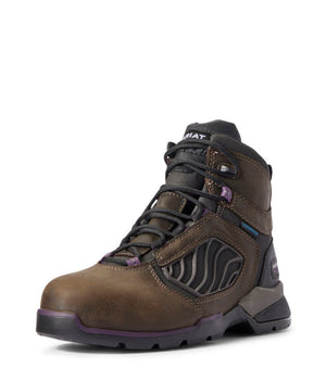 "ARIAT WOMENS REBAR FLEX 6"" H2O CARBON TOE DARK BROWN"