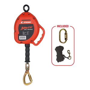 UFS310030 KStrong®️ BRUTE™️ 30 ft. Cable SRL with load indicating swivel locking carabiner. Includes installation carabiner and tagline (ANSI).