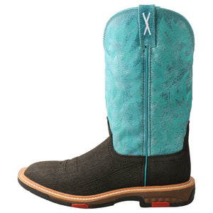 "Twisted X 11"" Western Work Boot - Charcoal & Turquoise - WXBA001"