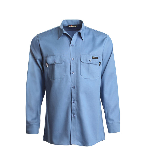 Workrite Flame Resistant Men's Long Sleeve Work Shirt- Medium Blue