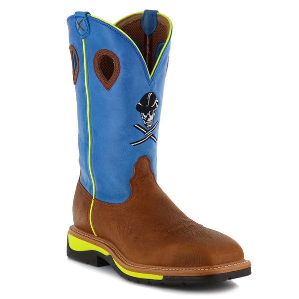 Twisted-X Men's Lite Cowboy Workboot – Brown Oiled Shoulder/Neon Blue MLCS012