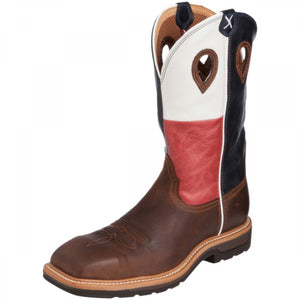 Twisted-X Men's Lite Cowboy Workboot – Brown/Texas Flag MLCS007