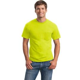 Gildan Ultra Cotton Adult Short Sleeve T-Shirt With Pocket Style 2300 Safety Green
