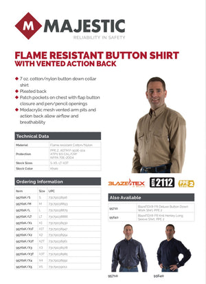 Majestic 95761, BlazeTEX Flame Retardant, Vented Action Back, Button Down Work Shirt