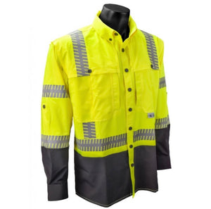 Radians SW21-3BGR Hi Vis Yellow Ripstop Safety Shirt - Long Sleeve - Type R - Class 3