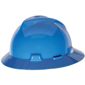 MSA V-Gard Slotted Full-Brim Hat, W/Fas-Trac III Suspension