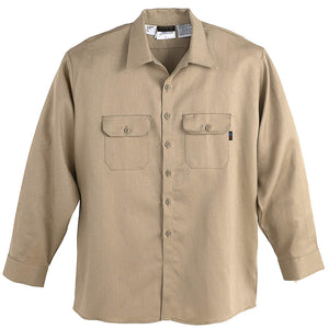 Workrite  Flame Resistant Men's Long Sleeve Work Shirt Khaki