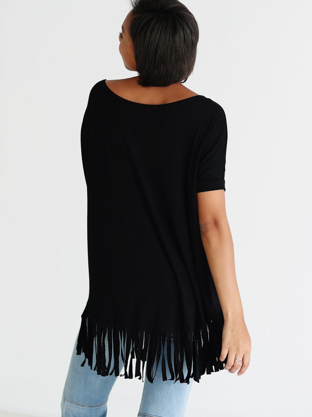 Black Bamboo Short Sleeve Fringe Top
