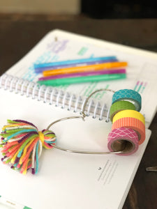 Bright Rainbow Tassel Heart Washi Ring