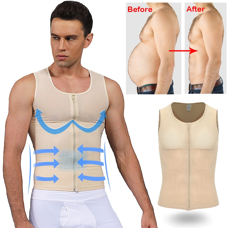 Men's Shapewear Bodysuit Full Body Shaper with Zipper Compression Slimming Suit Breathable Shirt Slim Mens Shapers