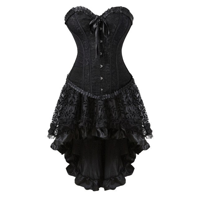 Autumn Lady Gothic Falbala Bandage Lace Sleeveless Evening Party Corset Dress Shapewear Spandex Vintage  Cosplay Costume Dress